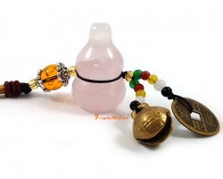 Rose Quartz Wu Lou for Health with Bell Hanging