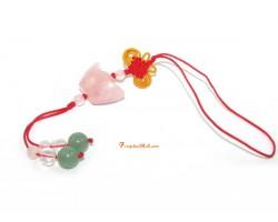 Rose Quartz Chinese Ingot Mobile Hanging