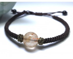 Rutilated Quartz Bead Adjustable Bracelet