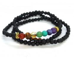 Seven Chakra Lava Stone Beads Healing 3-Round Bracelet