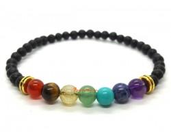 Seven Chakra Lava Stone Beads Healing Bracelet