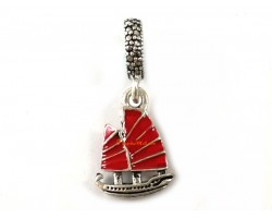 Silver Plated Chinese Wealth Ship Red Enamel Dangle Bead Charm