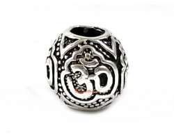 Silver Plated Retro OM Charm Bead