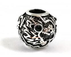 Silver Plated Vintage Bejeweled Dragon Charms Bead