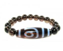 Tibetan Dzi Bead of Your Choice with Smokey Quartz Bracelet