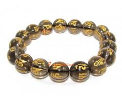 Smoky Quartz Om Mani Padme Hum Bracelet (12mm)