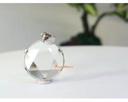 Star of David Pendant with 925 Silver Frame (Clear Quartz) 12mm