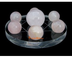 Crystal Spheres on Star of David Symbol - Rose Quartz