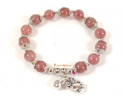 Strawberry Quartz Bracelet with Pi Chiu and Wu Lou