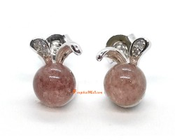 Strawberry Quartz with Rabbit Ears Silver Earring