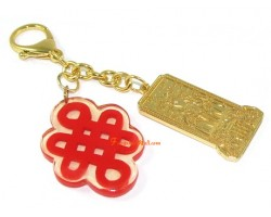 Tai Sui Amulet with Mystic Knot Keychain