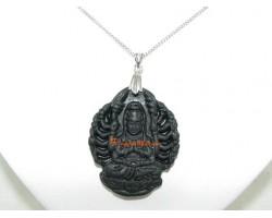 Thousand Armed Guan Yin Pendant Necklace (Black)
