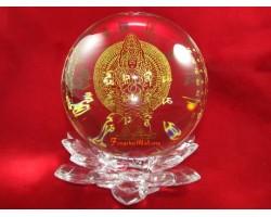 Thousand Armed Kuan Yin Crystal Ball With Lotus Stand