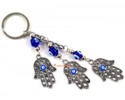 Three Hamsa Hand Evil Eye Pendant Key Chain