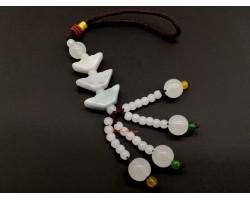Three Jade Feng Shui Gold Ingot Hanging