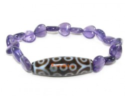Tibetan Dzi Bead of Your Choice with Amethyst Hearts Bracelet