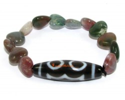 Tibetan Dzi Bead of your Choice with Bloodstone Hearts Bracelet