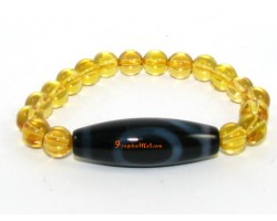 Tibetan Dzi Bead of your Choice with Brazilian Citrine Bracelet