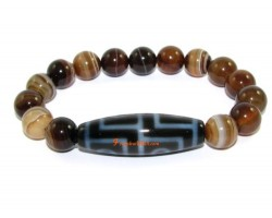 Tibetan Dzi bead of your Choice with Brown Agate Bracelet