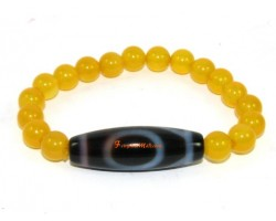 Tibetan Dzi Bead of your Choice with Yellow Jade Bracelet