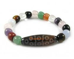 Tibetan Dzi Bead of Your Choice with Multi-Crystal Apple Bracelet