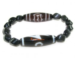 Tibetan Dzi Beads (two) of Your Choice with Twisted Obsidian Crystal Bracelet