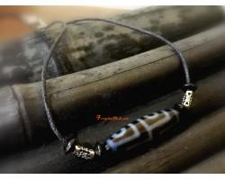 Tibetan Agate Dzi Bead with Adjustable Necklace