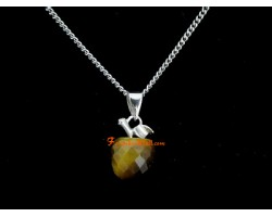 Faceted Apple Pendant Necklace - Tiger Eye