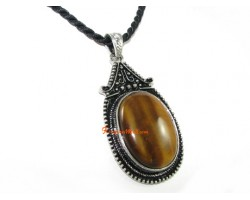 Oval Tiger's Eye Pendant Necklace in Zinc Alloy Setting