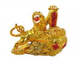 Golden Tiger with Wealth Pot (S)