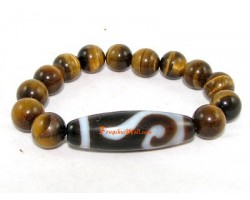 Tibetan Dzi Bead of Your Choice with Tiger's Eye Bracelet