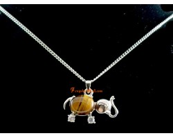 Tiger's Eye Elephant Pendant with Necklace