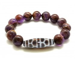 Tortoise Shell Dzi Bead with Amethyst Phantom Quartz Bracelet