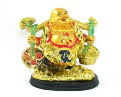 Golden Travelling Laughing Buddha for Wealth Luck