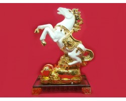 White Victory Feng Shui Horse with Treasure
