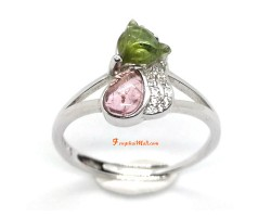 Watermelon Tourmaline Fox Adjustable Ring