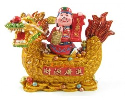 Wealth God Holding String of Coins on Good Fortune Dragon