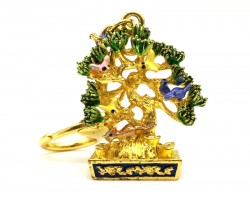 Wealth Tree With Mongoose And 6 Birds Keychain