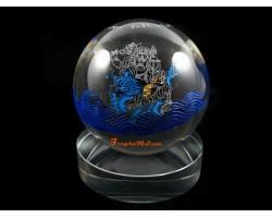 Crystal Ball with White Dzambala Tibetan Wealth God