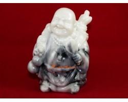 Laughing Buddha Holding Fan (white)