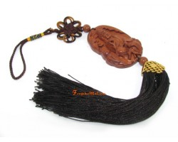 Wooden Guan Yin Goddess of Mercy Tassel