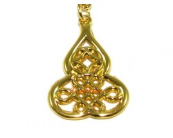 Golden Wu Lou with Mystic Knot and Coin Keychain