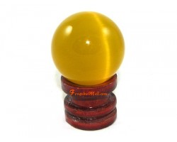 Cat's Eye Crystal Sphere - Yellow