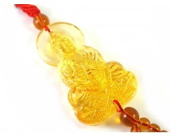 Yellow Glass Kuan Yin Tassel