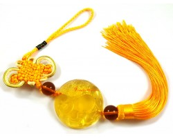 Yellow Liuli Laughing Buddha Hanging Tassel