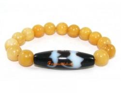 Tibetan Dzi Bead of Your Choice with Yellow Jasper Bracelet