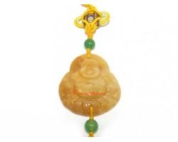 Yellow Jasper Laughing Buddha Hanging