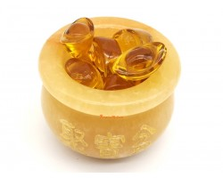 Yellow Jasper Wealth Pot with Gold Ingots