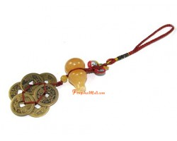 Yellow Jasper Wu Lou with 6 Coins Hanging