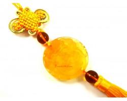 Yellow Liuli Piyao Biting Coin Tassel